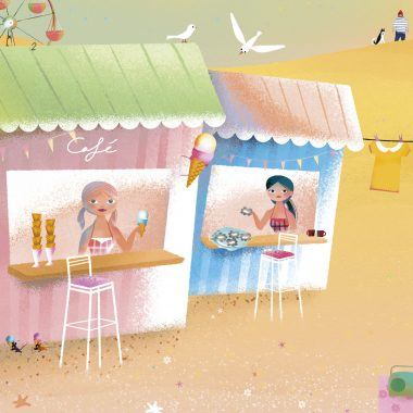 Mermaids selling ice cream and oysters on the beach