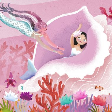 Mermaids playing hide and seek in a sea shell