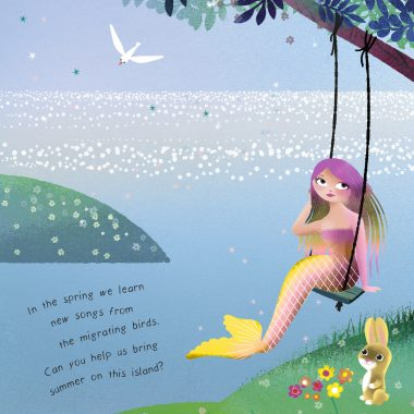 The spring comes to the mermaids' island, a cute bunny with a mermaid.