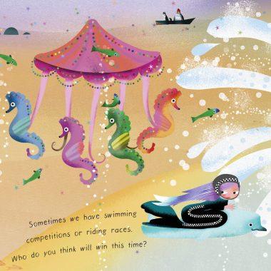 Mermaids racing by a Seahorse Carousel