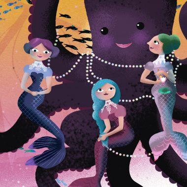 Mermaid sisters visiting the old Octopus