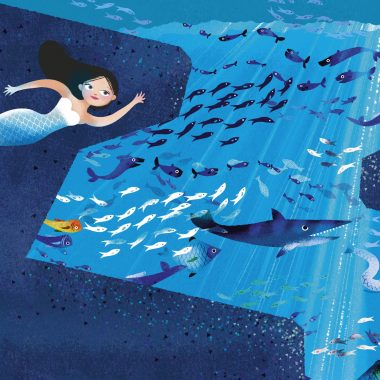 A mermaid swimming with fish, from the Mermaid Sticker Book