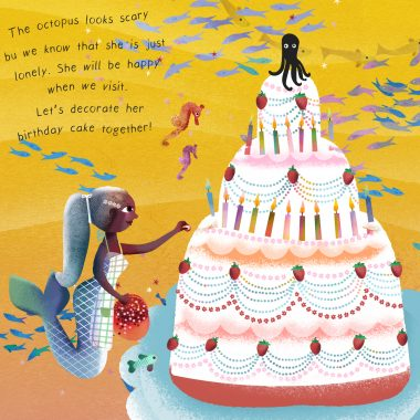 A mermaid decorating the Octopus's birthday cake