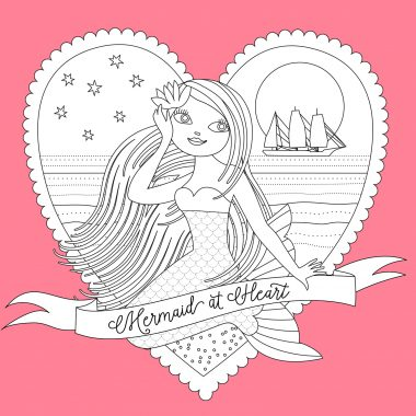 Valentine Mermaid coloring picture