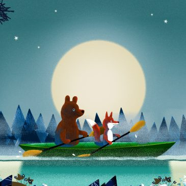 Bear and Fox kayaking illustration