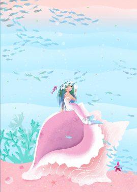 Mermaid sitting on a shell illustration