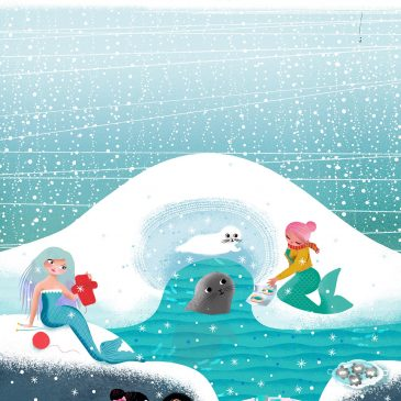 Mermaids tending to a seal and her baby illustration