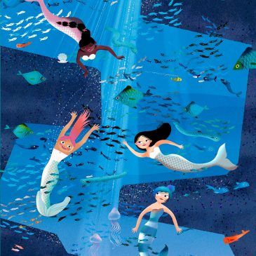 Mermaids swimming in deep sea with fish illustration