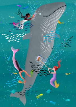 Mermaids helping a whale illustration