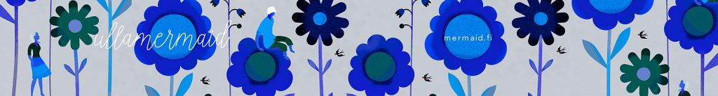 Spoonflower banner Blue Flowers ullamermaid shop